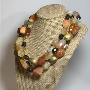 Multiple Gold and Apricot Tones Necklace